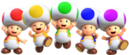 Group artwork of the Toads from Super Mario Run.