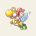 Artwork of Yellow Yoshi using the Flutter Wings, from Yoshi's New Island.