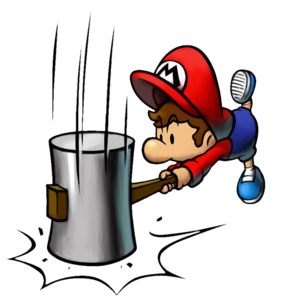 Baby Mario with his Hammer