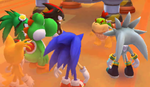 Bowser Jr. argues with Yoshi, Shadow, Silver, Sonic, Tails, and Jet