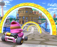 The icon of the Birdo Cup challenge from the Berlin Tour in Mario Kart Tour.