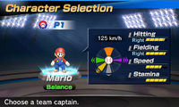 Mario's stats in the baseball portion of Mario Sports Superstars