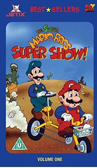 """The cover art to the UK VHS """"The Super Mario Bros. Super Show! - Volume One"""", which uses the same artwork and cover as the DVD-exclusive Volume Two."""