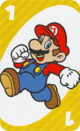The Yellow One card from the UNO Super Mario deck (featuring Mario)