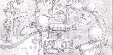 Concept artwork, unlocked in the Extras menu after collecting all Puzzle Pieces in Fruity Factory