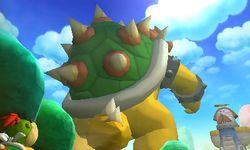 Bowser Jr. looking at Super Bowser in Mario & Luigi: Bowser's Inside Story + Bowser Jr.'s Journey.