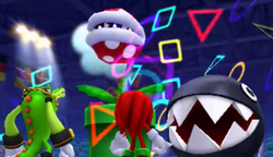A Piranha Plant and a Chain Chomp prepare to attack Knuckles and Vector