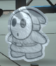 A Silver Shy Guy from Paper Mario: Color Splash.
