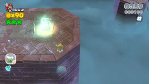 Hidden Luigi at Spiky Spike Bridge in Super Mario 3D World.