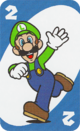 The Blue Two card from the UNO Super Mario deck (featuring Luigi)