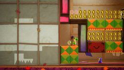 Behind the Shoji, the second level of Ninjarama in Yoshi's Crafted World.