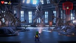 An excellent image of the Exhibit Hall, Unnatural History Museum, Luigi's Mansion 3.