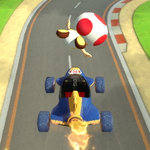 Toad performing a trick. Mario Kart 8.