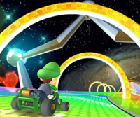 The icon of the Luigi Cup challenge from the Holiday Tour and the Mario Cup challenge from the Mario Tour in Mario Kart Tour