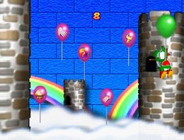 Bobbing Bow-loons: Yoshi tied to a balloon, holding his aim for the attempt to shoot one of the moving balloons that contains an item. From Mario Party 3.