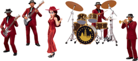 Artwork of Pauline and her band from Super Mario Odyssey.