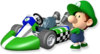 Artwork of Baby Luigi with his kart from Mario Kart Wii