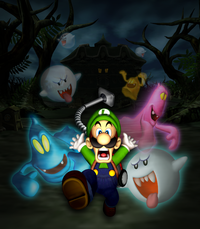 Luigi's Mansion (Nintendo 3DS) artwork depicting Luigi being chased by Boos, a Blue Twirler, a Purple Puncher, and a Gold Ghost.