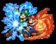 Mario and Luigi using the Firebrand and Thunderhand respectively in Mario & Luigi: Superstar Saga + Bowser's Minions.