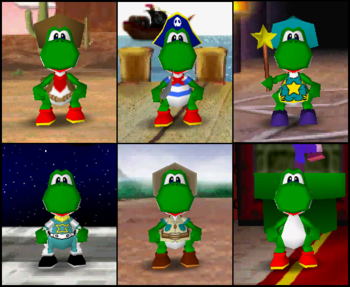 Yoshi's outfits in the game Mario Party 2.
