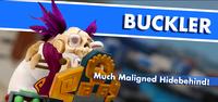 Buckler splash screen from the Donkey Kong Adventure mode of Mario + Rabbids Kingdom Battle