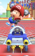 Baby Mario (Koala) performing a trick.