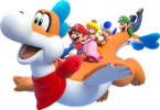 Artwork of Plessie with the four playable characters, from Super Mario 3D World.