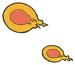 Artwork of the Fireballs spat out by Fire Pakkun Zō, from Super Mario Land 2: 6 Golden Coins.