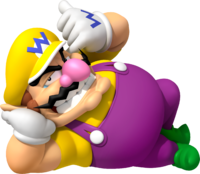 Artwork of Wario loafing from Mario Kart 7