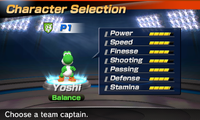 Yoshi's stats in the soccer portion of Mario Sports Superstars
