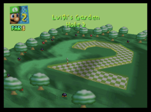 The second hole of Luigi's Garden from Mario Golf (Nintendo 64)