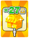 A Venture Card from Fortune Street indicating a Gold bonus based on the number of shops a player owns