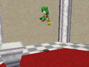 Yoshi entering the wall of Snowman's Land
