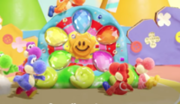A screenshot of the Sundream Stone from Yoshi's Crafted World
