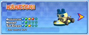 Mametchi in a kart from Mario Kart Arcade GP 2