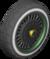 The Block_BlackGreenWheel tires from Mario Kart Tour