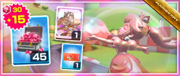 The Pink Gold Peach Pack from the 2021 Los Angeles Tour in Mario Kart Tour