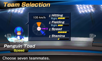 Blue Penguin Toad's stats in the baseball portion of Mario Sports Superstars