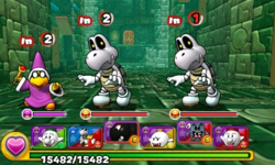 Screenshot of World 8-Tower 3, from Puzzle & Dragons: Super Mario Bros. Edition.