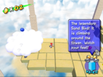 A Blue Coin in Gelato Beach in the game Super Mario Sunshine, there are three more above this coin on other clouds