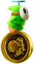 A Green Fly Guy with a 10 Coin