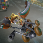 Baby Daisy performing a Trick in Mario Kart Wii