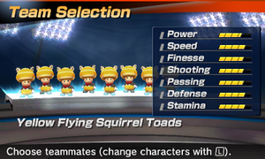 Yellow Flying Squirrel Toad's stats in the soccer portion of Mario Sports Superstars