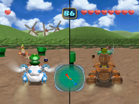 Screenshot of the duel in Green Meadow from Mario Party 5