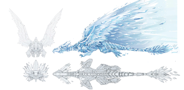 Concept artwork of an ice dragon, unlocked in the Extras menu after collecting all Puzzle Pieces in Frozen Frenzy