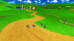 View of Moo Moo Meadows in Mario Kart Wii.