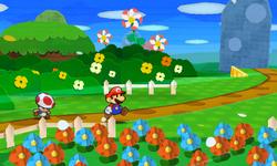 Screenshot of Mario in Bouquet Gardens, from Paper Mario: Sticker Star