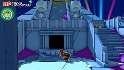 Mario and Professor Toad just outside the Temple of Shrooms in Paper Mario: The Origami King