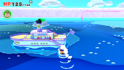 The Princess Peach cruise ship in Paper Mario: The Origami King