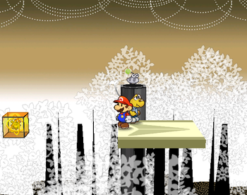 Mario next to the Shine Sprite near the airplane panel in Boggly Woods in Paper Mario: The Thousand-Year Door.